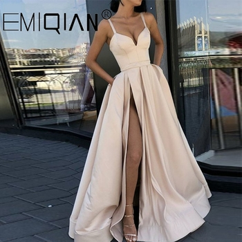 Champagne Muslim Evening Dresses, High Slit Spaghetti Straps Sweetheart A-Line Satin Long Prom Dress - discount item  40% OFF Special Occasion Dresses