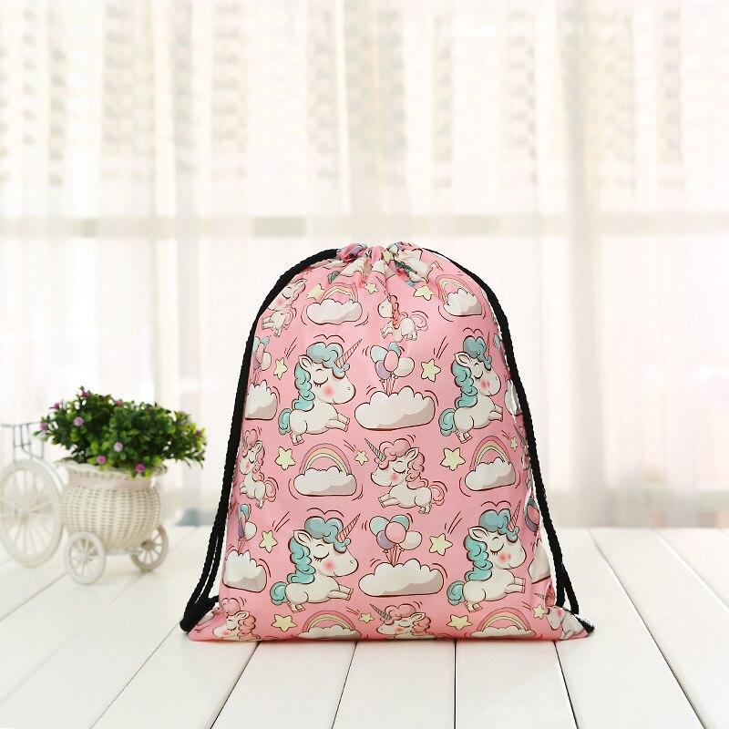 Fashion Drawstring Backpack  Women 3D Printing Unicor Softback Men Casual Bags Unisex Women's Shoulder Drawstring Bag Halloween