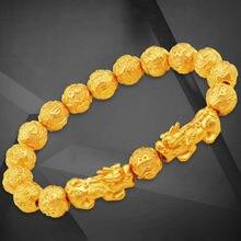 Fengshui – Bracelets Vietnam Shakin Pixiu en pierre naturelle, perle dorée sculptée, Inscription pour Couples, porte-bonheur