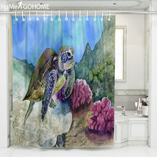 Bathroom Shower Curtain 3D Hand Painted Turtle Watercolor Art Decorative Shower Curtain Bath Curtains Waterproof Mildewproof New цена в Москве и Питере