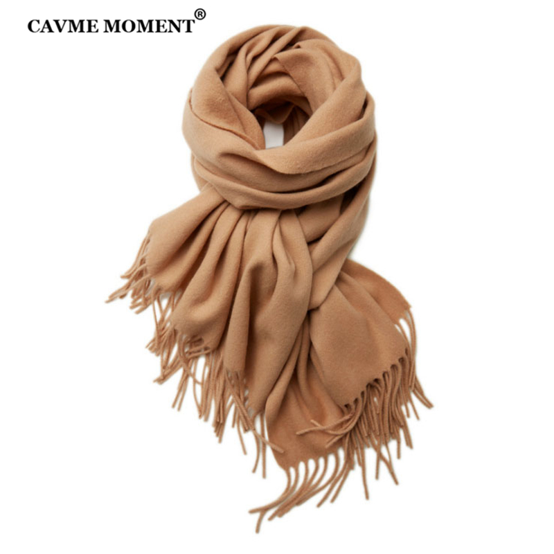 CAVME Pure Wool Scarf Unisex CUSTOM Gift Basic Long Sacrves with Tassels Fashion Warm 100% Wool Scarf 70*200cm 270g