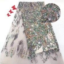 Блестками Африканское, французское кружево на тюлевом кружеве для Вечеринка ткани для одежды в нигерийском стиле кружевная ткань с блестками