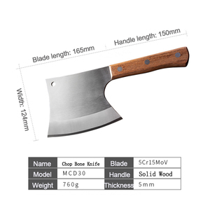 Image 5 - Couteau à os à hacher robuste, ustensile de cuisine 6.5 pouces, couteaux de boucher manche en bois acier inoxydable 5CR15