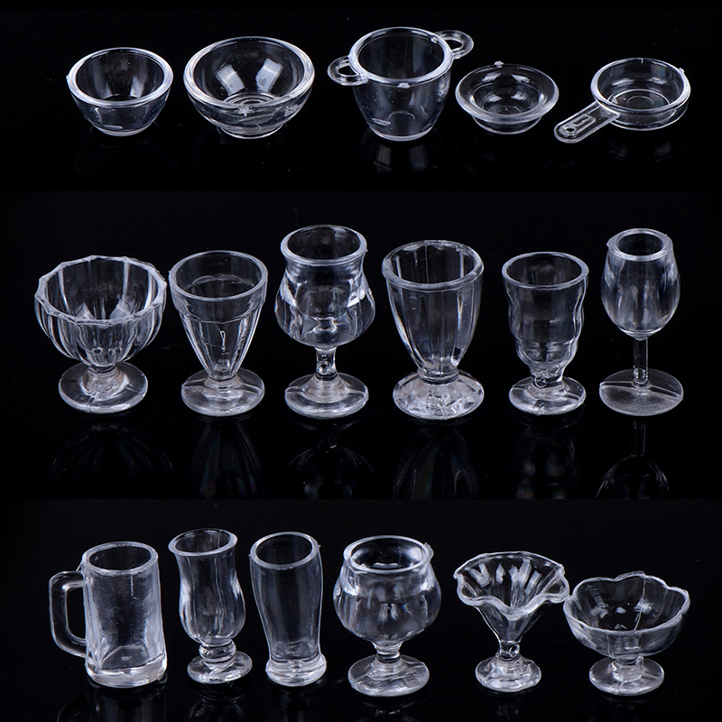 17Pcs/Set 1:12 Dollhouse Cute Mini Transparent DIY Pretend Play Kitchenware Toy Drink Cups Dish Tableware Miniatures