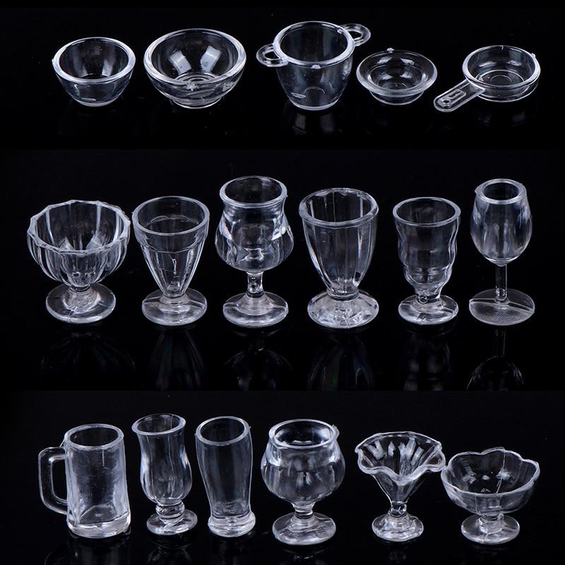 17Pcs/Set 1:12 Dollhouse Cute Mini Transparent DIY Pretend Play Kitchenware Toy Drink Cups Dish Tableware Miniatures
