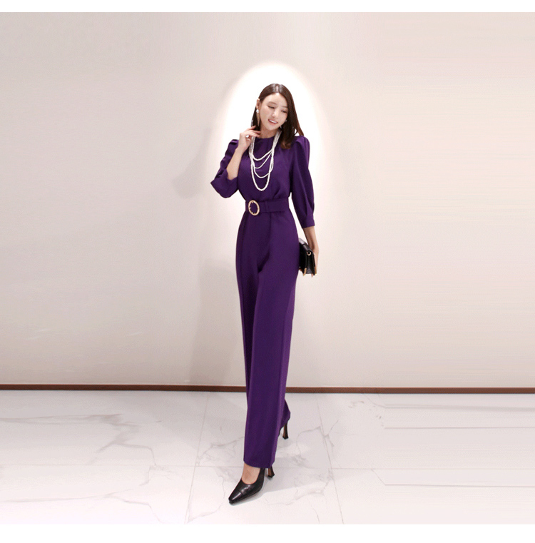Spring Women Fashion Elegant Office Workwear Casual Jumpsuits  Long Pants Jumpsuits Romper With Belt