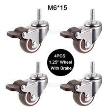 Roues pivotantes de remplacement avec tige de vis M6 * 15, 1.25 pouces, 4 pièces, avec frein, 20kg, GF171