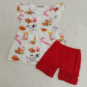 Hot sale Cute baby hamburger and milk fabric fashion baby summer wear short sleeve kids boutique outfits(China)