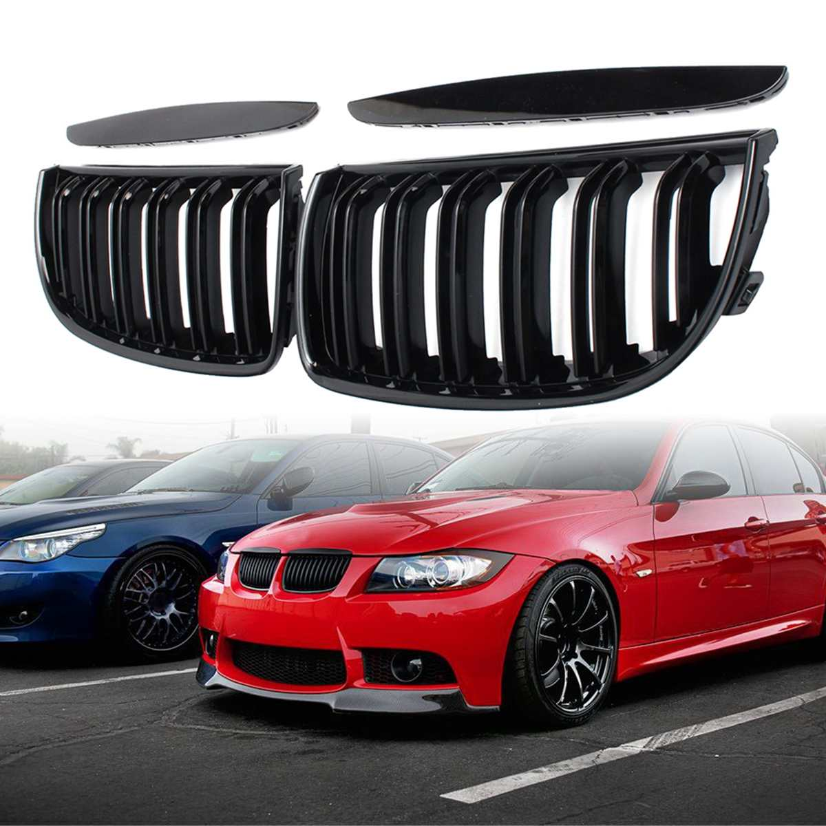 4 ชิ้น/เซ็ตคู่รถสีดำ M สไตล์ด้านหน้า Double SLAT กระจังหน้าสำหรับ BMW E90 E91 2005 2006 2007 2008 รถแข่ง Grills