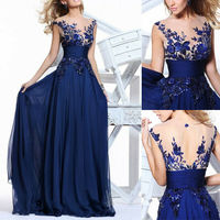 Womens Vintage Floral Full Lace Sexy Keyhole Back Cutout High Slit Formal Evening Gown Wedding Party Maxi Long Dress