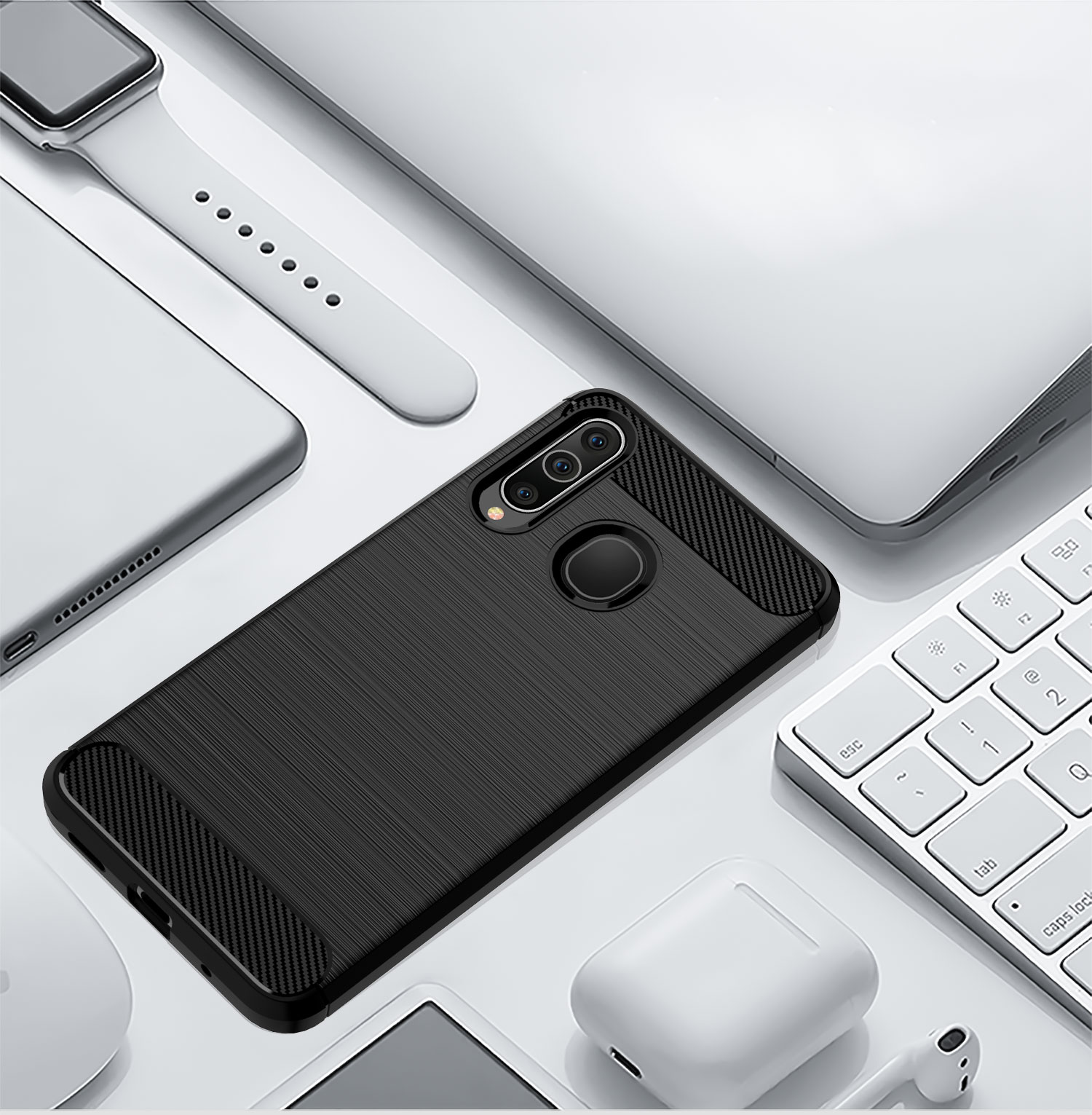 Whyes For Samsung Galaxy M40 M30 M10 Heavy ShockProof Silicone Carbon Fiber Soft TPU Case For Samsung Galaxy A20e A10e Cover