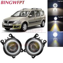 2x Car Accessories LED Fog Light Angel Eye with Glass len For Dacia Logan MCV 2009-2013 for Renault Duster Megane 2/3 Fluence