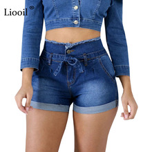 Liooil Casual Blue Denim High Waist Shorts Women Clothes 2020 Streetwear Cotton Lace-Up Sexy Slim Rave Jean Shorts With Pockets