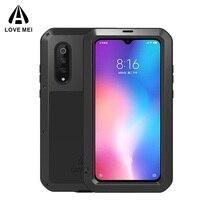 Love mei capa impermeável para xiaomi, capinha original para celulares xiaomi 8, 9, max, 2, 3, de metal, gorila, vidro xiaomi mix 2 2s