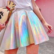 Jupes holographiques plissées pour femmes, Pu, couleur unie, Harajuku, Sexy, taille haute, Laser, Micro, jupes courtes Jk, vêtements pour femmes Y2k, décontracté