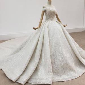 Image 3 - HTL1415 weding vestito fuori dalla spalla più il formato abito da sposa top con perline e perle abito da sposa tutto con seqrobe mariage fille