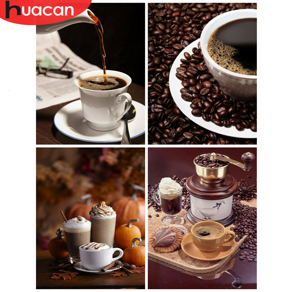 HUACAN  Picture By Numbers Coffee Scenery Drawing On Canvas Paint HandPainted Cup Art Kits DIY Gift Home Decoration