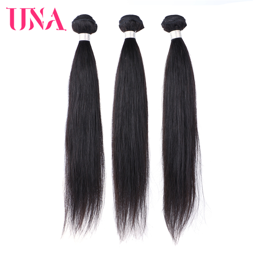 UNA Indian Hair Bundles 3 Pieces Pack Straight Hair Remy Natural Hair Weft Human Hair Weave Bundles 8 Inches to 28 Inches
