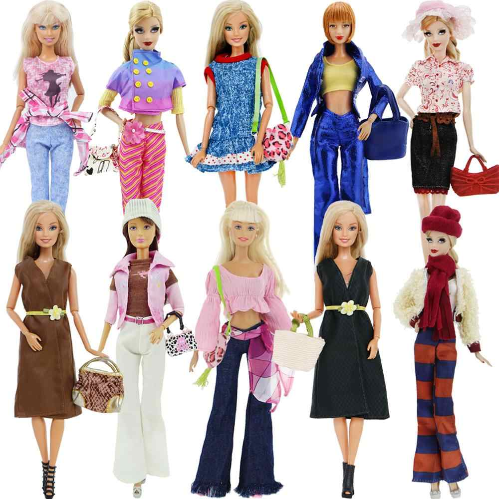 Fashion Doll Accessories Daily Casual Outfits Blouses Skirt Coat Pants Jeans Bag Shoes Hat Clothes for Barbie Doll Clothes