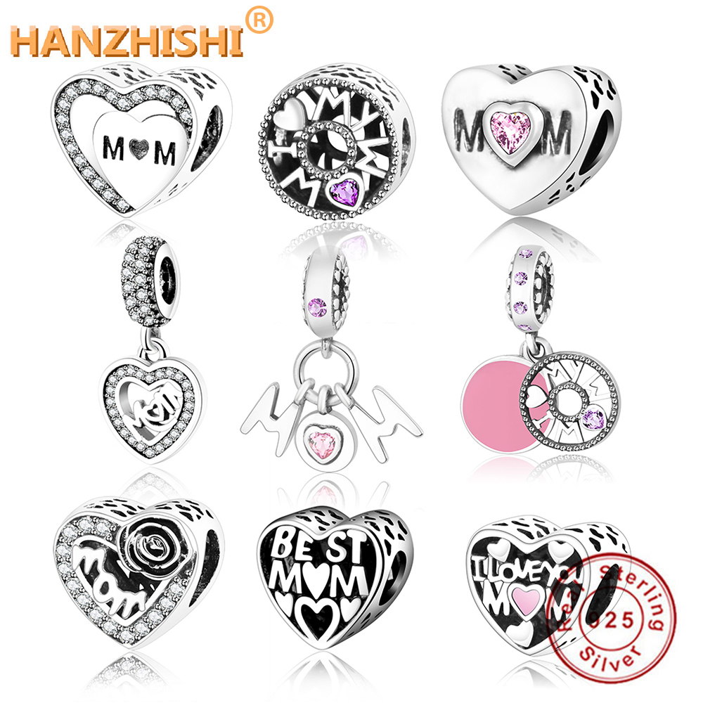 Fit Original Pandora Charms Bracelet 925 Sterling Silver MOM Heart Charm Beads DIY Jewelry Accessory Making Mother Gift berloque(China)