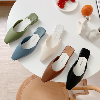 Fashion Pointed Toe Mules Women Summer Slippers Candy Color Flats Slip-on Holiday Ladies Sandals Slides PU Women Shoes drop shipping women s slide on slip on mules loafer flats shoes rhinestone slides slippers new fashion woman mules flip flops