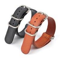 Echtes Leder Nato Uhr Band 20mm 22mm Braun Schwarz Zulu Strap Ersatz für Tissot Uhr