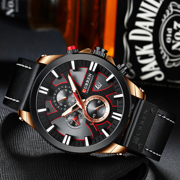 CURREN Leather Strap Chronograph Sport Quartz Wristwatch 2