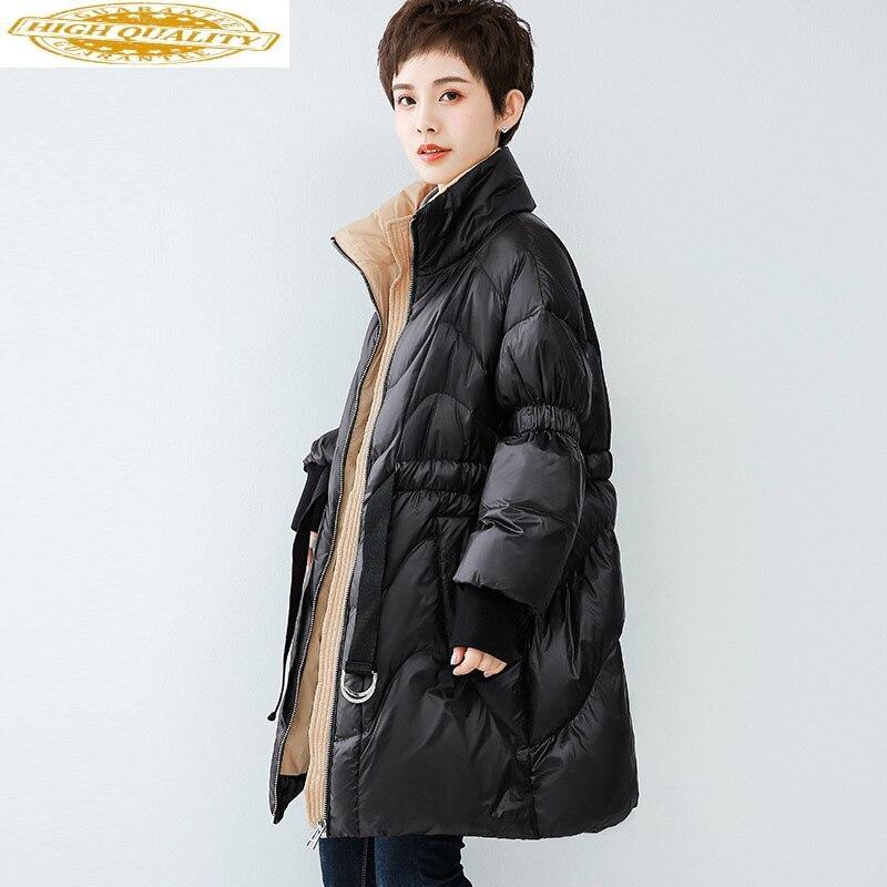 Winter Duck Down Jacket Women Long Down Coat Fashion Puffer Jacket Korean Doudoune Femme Hiver 2020 WF1B96615 KJ3678