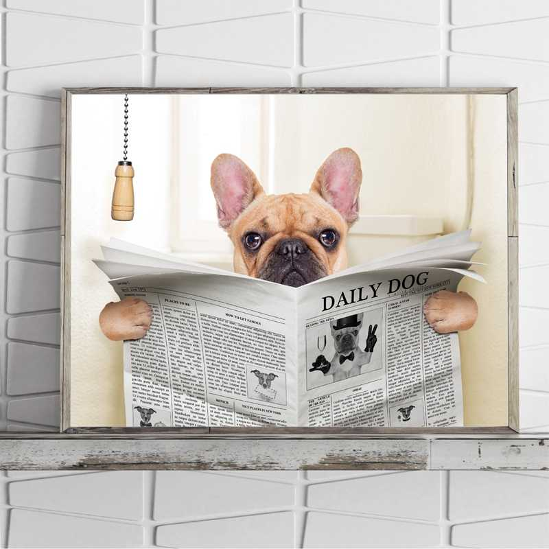 French Bulldog Dog Sitting on Toilet and Reading Magazine Canvas Art Poster Print Funny Art Painting Picture Bathroom Wall Decor