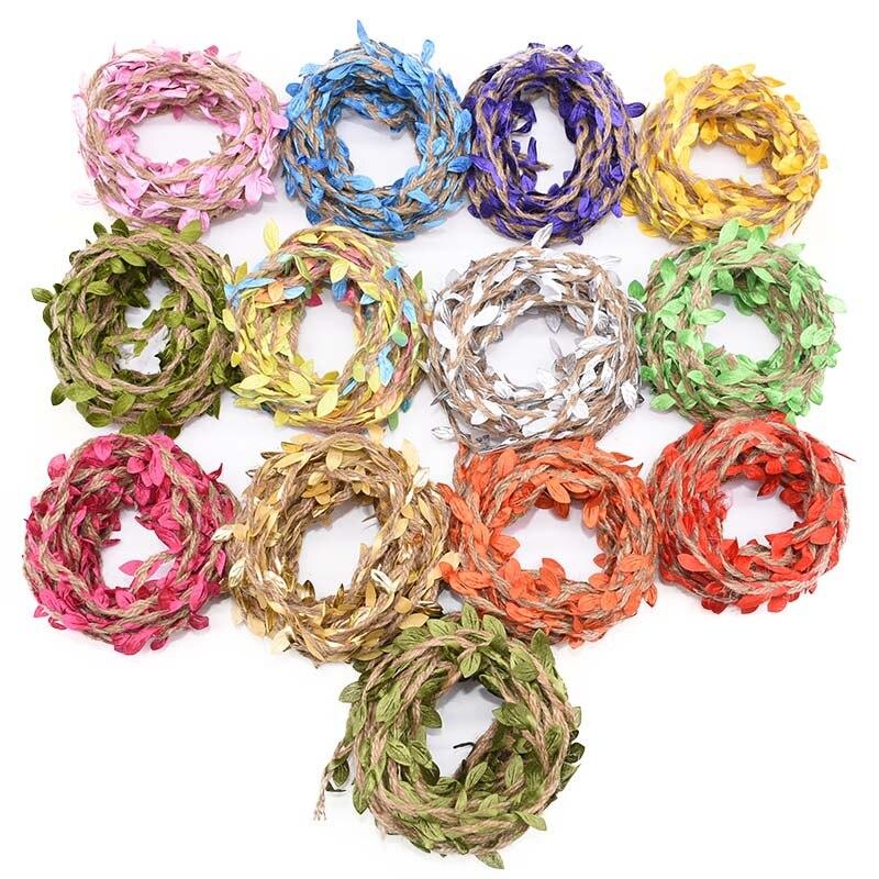2/5/10M джутовая веревка в форме листьев лента рукоделие Подарочная упаковка джут шпагат в декорированном мешковиной горшке в деревенском сти...