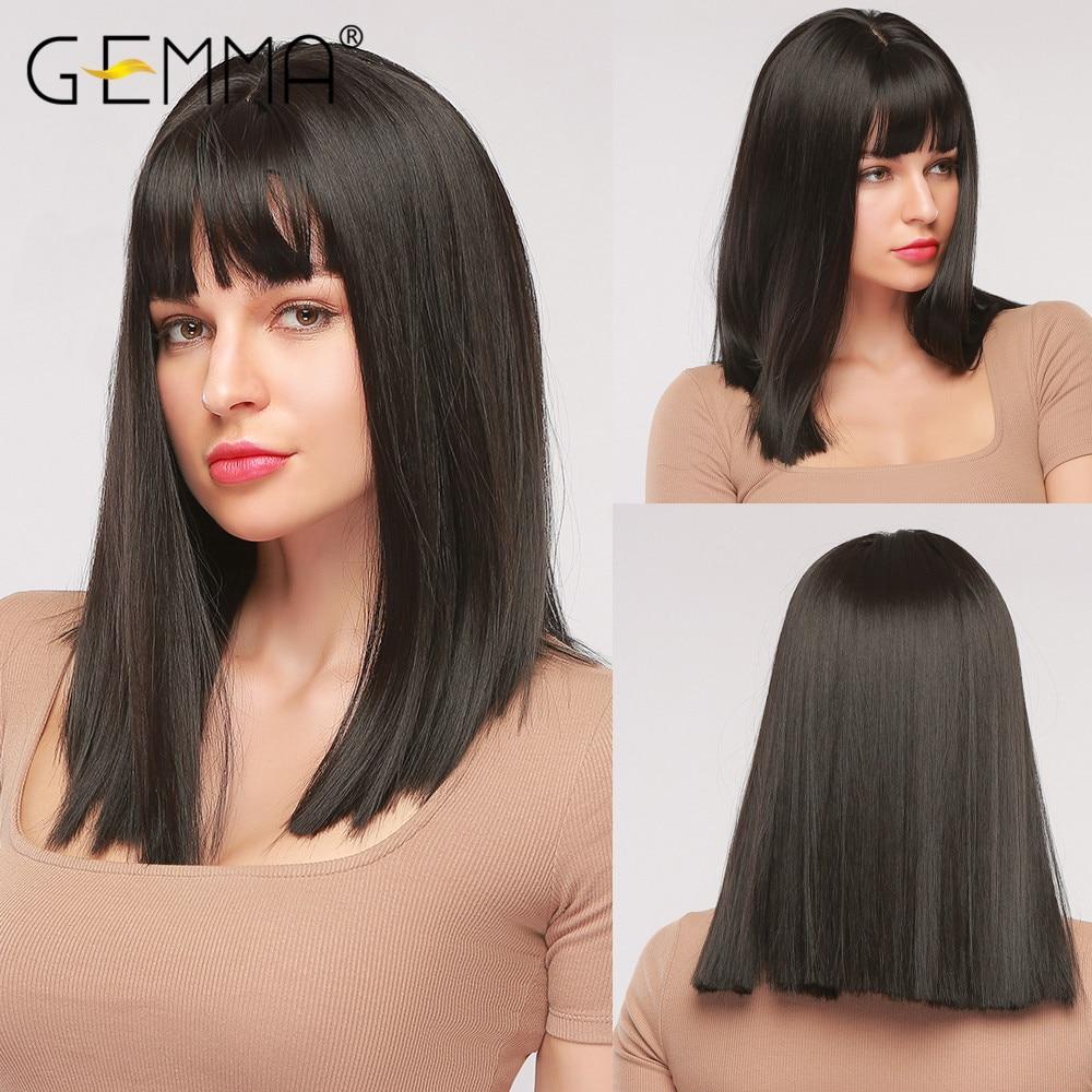 Gemma natural preto médio em linha reta bob cabelo cosplay festa lolita feminino meninas perucas sintéticas com franja fibra resistente ao calor