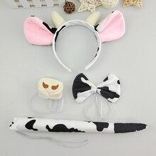 Cosplay-Accessories-Set Cow-Ears-Headband Plush-Tail Animal Halloween Kids Cartoon