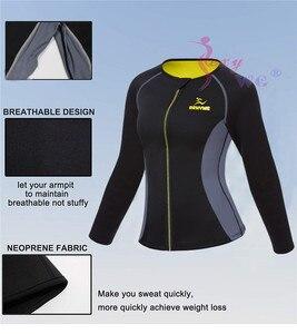 Image 5 - SEXYWG Slimming Body Shaper Fitness Tight Women Neoprene Sauna Suit Waist Trainer Shapewear Zipper Yoga Shirt Long Sleeve Blouse