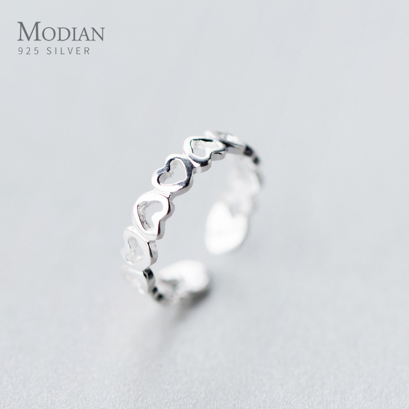 Modian Minimalist Simple Stackable Heart Ring for Women Authentic 925 sterling Silver Adjustable Free Size Ring Fine Jewelry