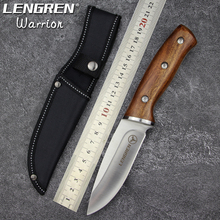 LENGREN hunting knifes wood handle camping survival tactical fixed knife north american hunting sharp Straight knife