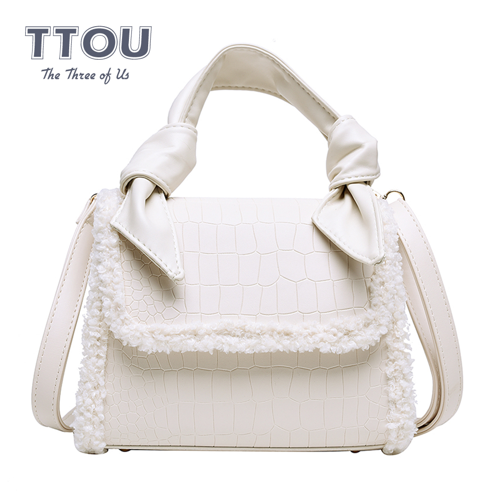 Lamb Cashmere Elegant Female Top-hand Bag Quality PU Leather Women Shoulder Bag High Street Designer Fur Ladies Messenger Bags