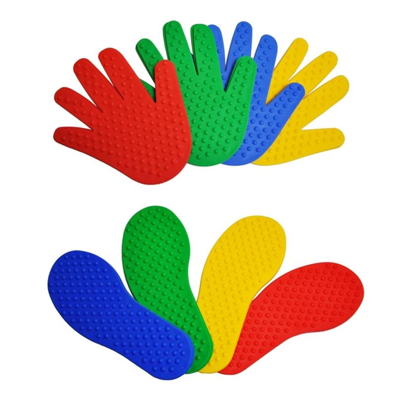 8 Pairs Hände und Füße Spiel 4 Farbe Spielzeug für Kinder Jump Spielen Matte Sport Musculation Indoor Outdoor Spiel Requisiten für Kinder
