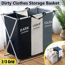 Cesto para ropa sucia plegable en forma de X, organizador plegable de sección 2/3, clasificador de ropa de dormitorio, bolsa de lavandería
