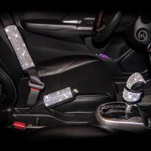 結晶ダイヤモンドの車のハンドブレーキカバーギアシフターノブカバーオート光沢のあるハンドブレーキシートベルトカバー車のアクセサリー