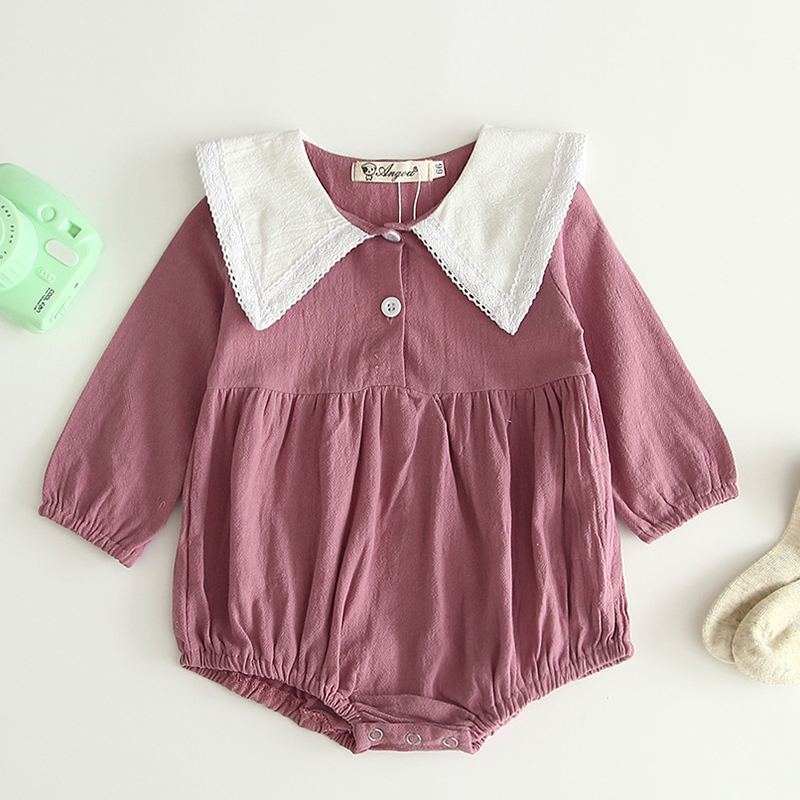Baby Jumpsuit Spring And Autumn Cute Princess Skirt One Piece Girls Hollow Lapel Lace Bodysuit Cute Casual Winter Clothes
