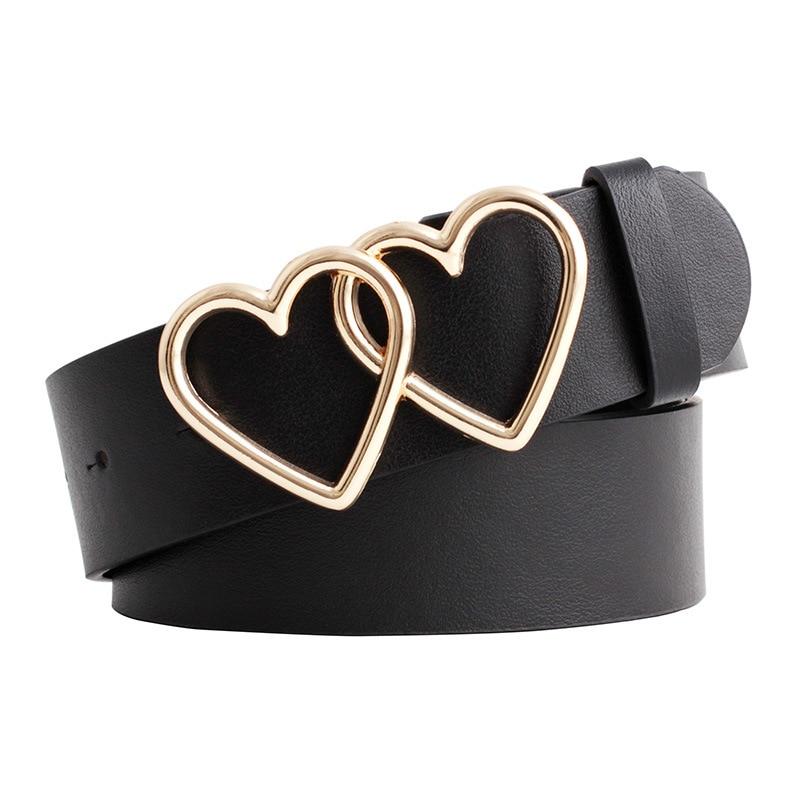 2020 New Designer Women's Double Heart Buckle Belt Strap Wide Black White Red Brown Leather Belts For Women Dress Pasek Damski