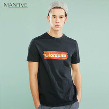 Giordano Men T-shirt Men GIO Logo Printing Letters Ribbed Crewneck Tshirt Men Short Sleeve Cotton Tee Shirt Fashion Simple Tops цены