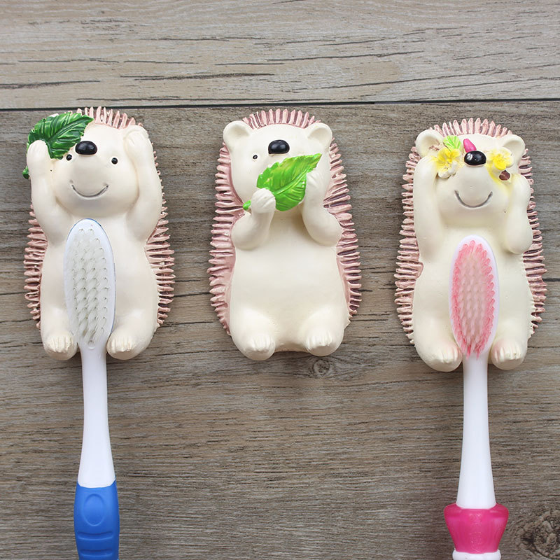 1PC Bathroom Strong Paste Toothbrush Storage Hook Wall-mounted Cartoon Hedgehog Toothbrush Holder Hanger Decoration Storage Rack