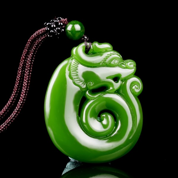 Chinese Green Jade Dragon Pendant Necklace Jewellery Fashion Hand-Carved Relax Healing Man Women Luck Gifts Amulet