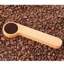 Scoop-Clip Coffee-Scooper 1-Tablespoon Beechwood-Measuring-Spoon Wooden Long-Handle Sealing-Bag