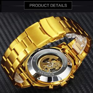 Image 4 - WINNER Official HIP HOP Golden Automatic Watch Men Diamond Iced Out Skeleton Mechanical Watches Brand Luxury Punk Wristwatches