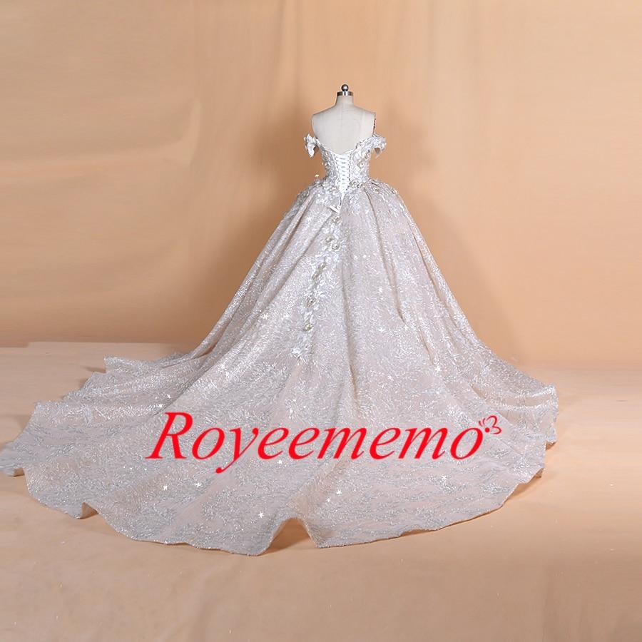 Image 3 - Luxurious Dubai Arabic  off shoulder appliques lace wedding dress 2020 real photos bridal gown Vestido de noiva bridal dressWedding Dresses   -