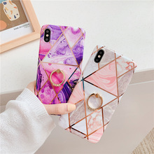 Pink purple color electroplated marble cases for iPhone XS MAX XR X case iphone 7 8 6 6s Plus finger ring silicone cover tpu