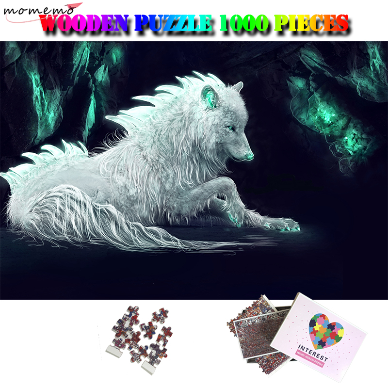 MOMEMO Fantasy Wolf 1000 Pieces Puzzle For Adults Animals Pattern Jigsaw Puzzle Wooden 1000 Pieces Puzzle Toys For Kids Children