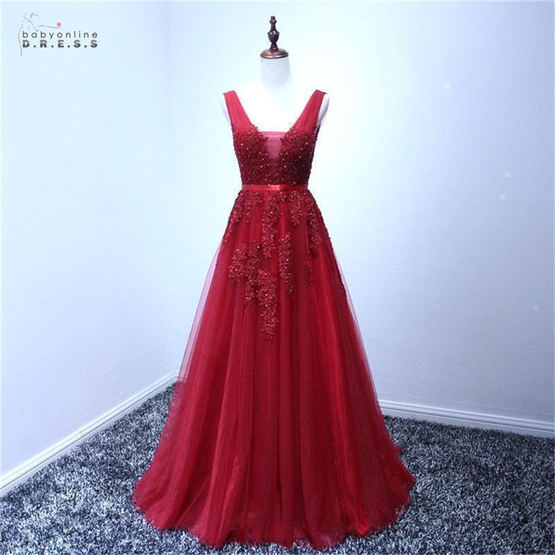 24 Hours Shipping Burgundy Lace Prom Dresses Long Sexy Backless Tulle A-line Prom Gown Appliques Cheap Vestido De Festa Longo
